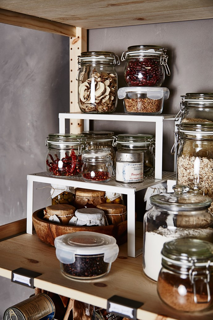 DROPPAR series, from $4.99 from IKEA, have clear surfaces and a lid, so it's easy to see the contents when your jars are stacked on a shelf or placed standing in a drawer.