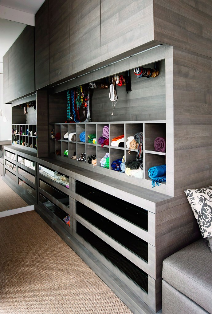 A customised walk-in allows for efficient use of space, and the convenience of having everything on display. Photo: bauersyndication.com.au