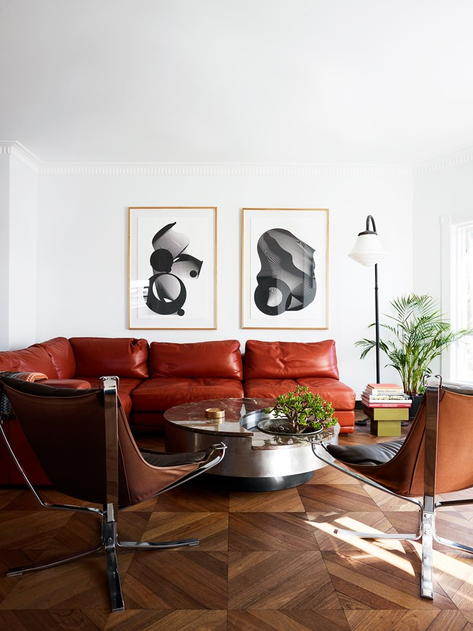 The original features were enhanced with elegant influences from Havana, Miami and the Amalfi coast. 1970s chrome and leather 'Falcon' chairs by Sigurd Ressell for Vatne Møbler.