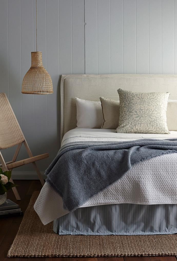 Opt for bedding in timeless neutral shades.