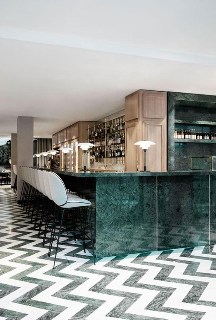 """Marble benchtops and shelves have given this restaurant a sophisticated aesthetic, which is complemented by white and green marble flooring, creating a uniform theme. *[Dana Tomić Hughes via Pinterest](https://www.pinterest.com.au/pin/554083560391326859/