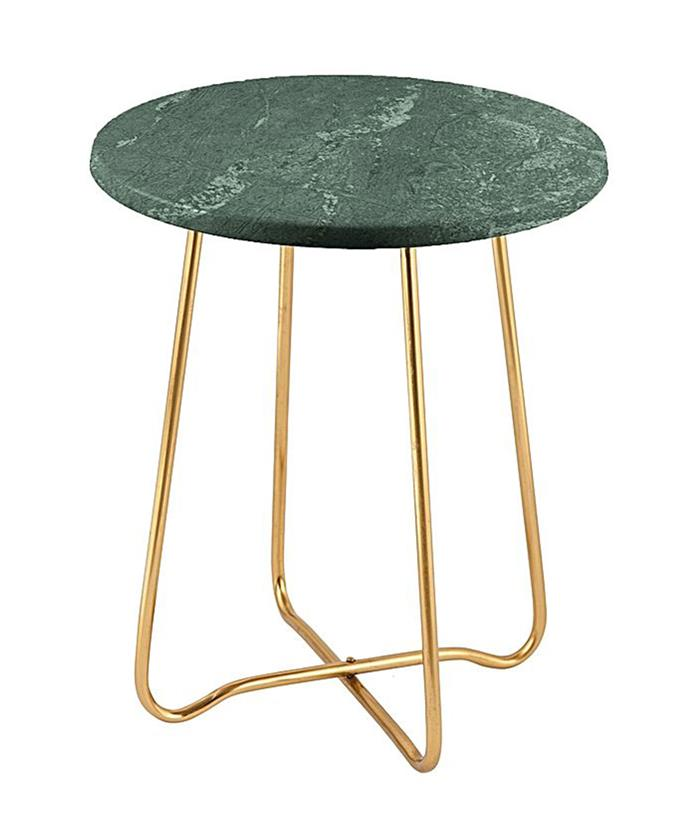"""Marble Side Table, $170, at [Zanui](https://www.zanui.com.au/Jessica-Marble-Side-Table-Gold-Green-136377.html?