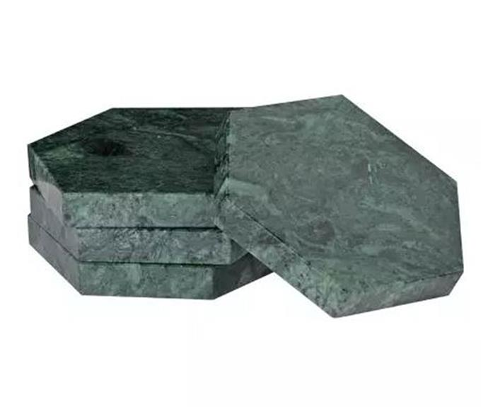"""Marble Coaster Set, $51, at [Trouva](https://www.trouva.com/products/coach-house-green-marble-coasters-set-of-4