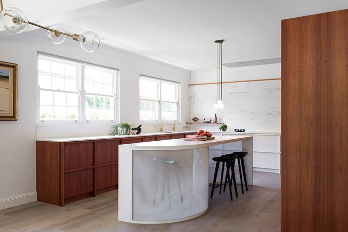 """""""A hard-wearing work surface – the Dekton benchtop – is combined with natural materials, including wire-brushed Australian timbers and solid brass, to give the space an authentic feel,"""" says Darren."""