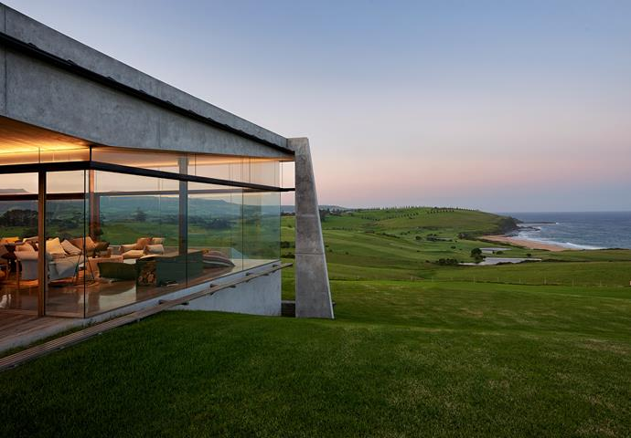 **The Farm by Fergus Scott Architects - South Coast, NSW.** Serving as a retreat for family and friends, The Farm embeds itself in it's pastoral site, capturing panoramic views of the southern New South Wales coastline. *Photography: Michael Nicholson*