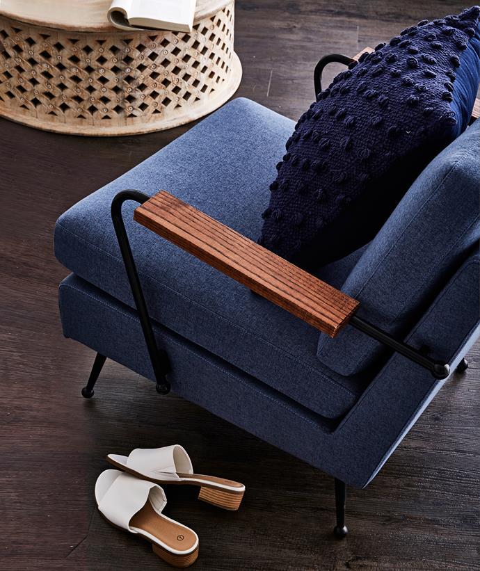 Mod armchair, $995, from Matt Blatt. Acacia cushion in Solid Navy, $49.95, from Rapee.