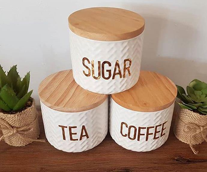 "**DIY Labelled Canisters** <br><br> Jars and canisters of your choice can easily be personalised with foil letters. *Photo via: [@behindblooeyez](https://www.instagram.com/p/Bfeb-lZjl_v/?tagged=kmarthack|target=""_blank""