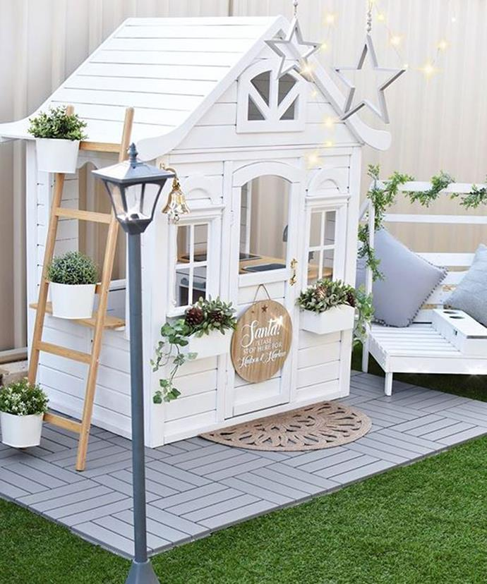 "**Hamptons Style Kids Cubby House** <br><Br> Cubby houses don't get much better than this. A $199 play house (which was originally dark red wood and black) has been transformed into a dreamy white retreat, inspired by Hamptons style. Find out what materials were used to complete the project [here](https://www.homestolove.com.au/kmart-cubby-hack-6033|target=""_blank"").  *Photo via: [@hudson_and_harlow](https://www.instagram.com/p/Bc6ueFbjkAG/?taken-by=hudson_and_harlow