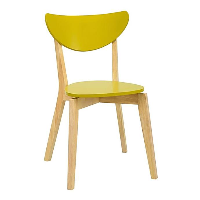 "Dining Chair, $125, at [Zanui](https://www.zanui.com.au/Nazra-Olive-Yellow-Dining-Chair-123701.html|target=""_blank"")."