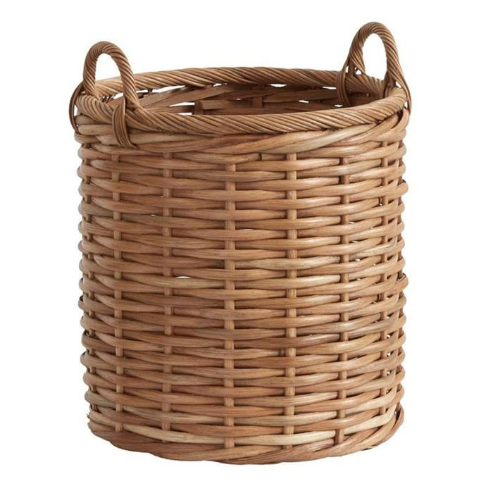 "**Baskets:** Pretty and affordable, baskets in all shapes and sizes are a neat way to keep all kinds of things tidy.  Woven Tote, $107, from [Pottery Barn](https://rstyle.me/n/cyxywyvs36|target=""_blank"")."