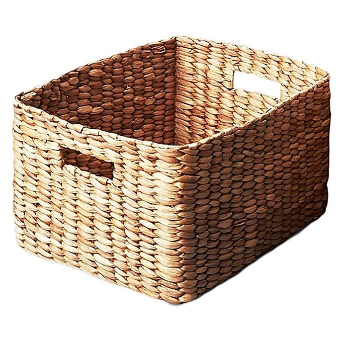 "**Baskets:** Waterhyacinth Rectangular Basket, $30 from [Zanui](https://www.zanui.com.au/Waterhyacinth-Rectangular-Basket-132224.html|target=""_blank"")."