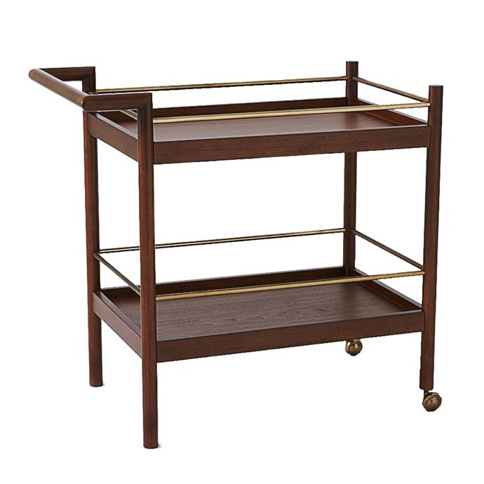 "**Trolleys:**  Mid-Century walnut-veneer bar cart, $599 from [West Elm](https://rstyle.me/n/cyx2gxvs36|target=""_blank"")."