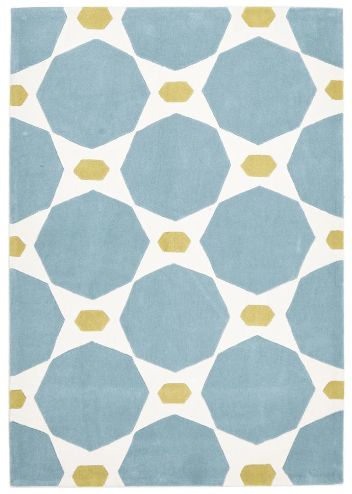 """Network Rugs Hive rug in Blue/Yellow, 115cm x 165cm, $164, from [Temple & Webster](https://www.templeandwebster.com.au/Blue-and-Yellow-Hive-Rug-HV-638-BLUE-NETW4558.html