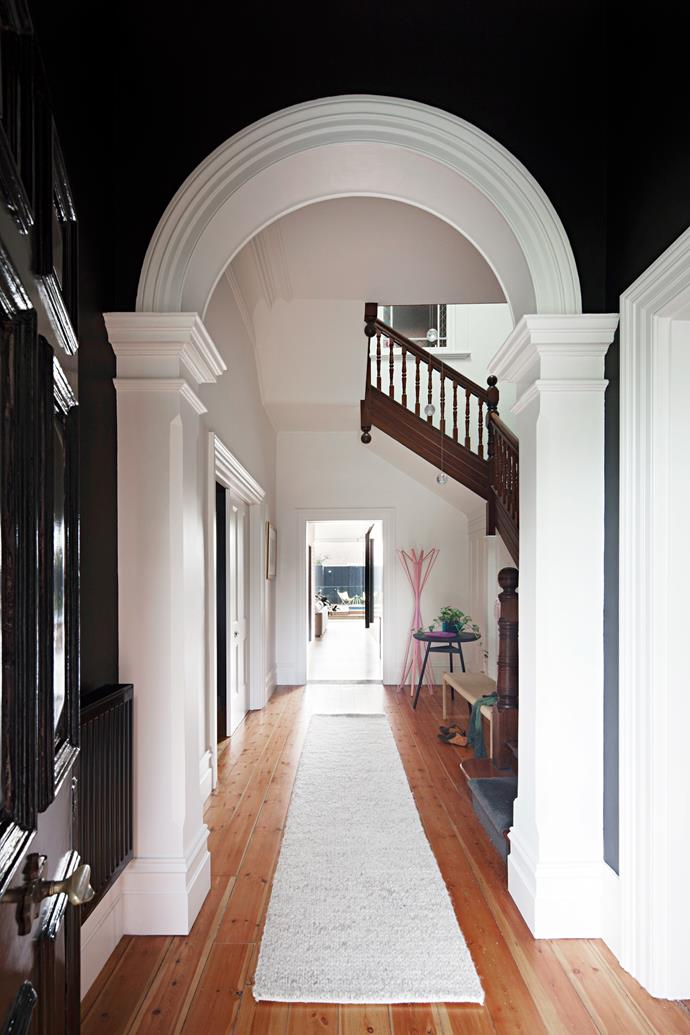 The existing Baltic pine floor and period details were retained in the hall.