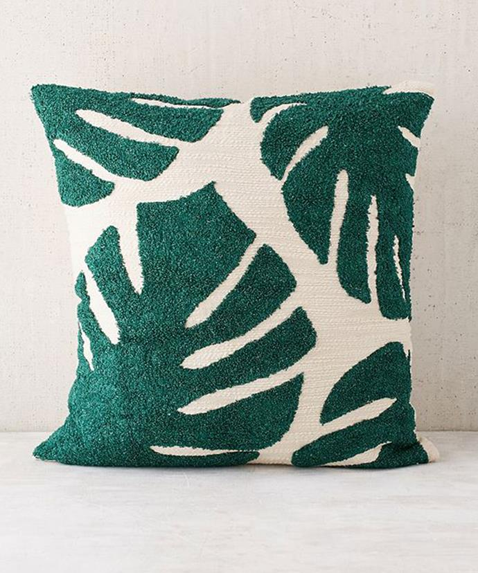 """Pillow, $49, at [Urban Outfitters](https://www.urbanoutfitters.com/shop/assembly-home-crewel-palms-pillow?category=pillows-throw-blankets&color=030