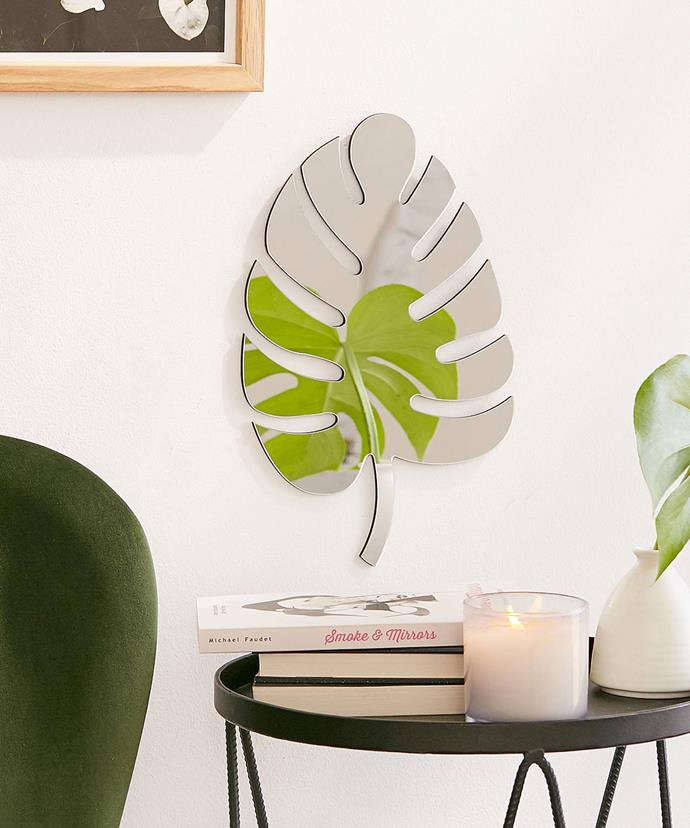 """Monstera Leaf Mirror, $29, at [Urban Outfitters](https://www.urbanoutfitters.com/shop/monstera-leaf-mirror?category=SEARCHRESULTS&color=100