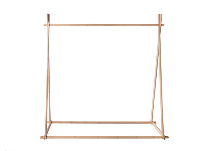 "'Minka A-Frame' small bamboo clothes rack (128x133x40cm), $60, [Mocka](https://www.mocka.com.au/|target=""_blank""|rel=""nofollow"")"