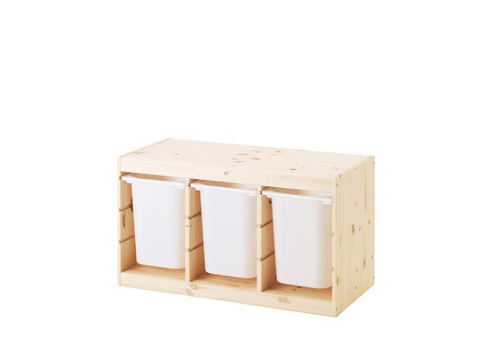 "'Trofast' pine storage unit with plastic drawers (94x53x44cm), $126, [Ikea](http://www.ikea.com/?ccTLD=AU|target=""_blank""|rel=""nofollow"")"