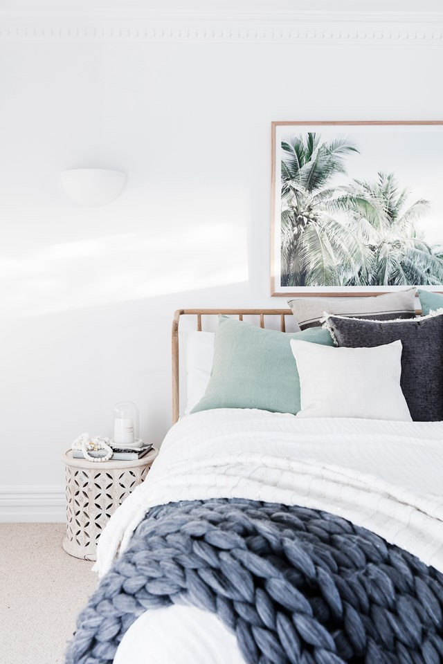 """Whoever said """"blue and green should never be seen"""" was wrong. The coastal colour palette in this peaceful haven showcases how blue and green can work together when the right shades are used"""