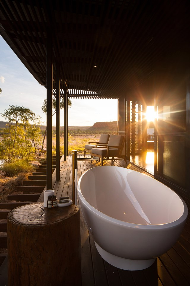 "Perched on the side of the Chamberlain River and Gorge in the heart of the Kimberley, El Questro Homestead offers and adventurous and luxurious outback experience. After a day exploring the Australian outback, we could think of nothing we'd rather do than watch the sunset from this luxurious freestanding outdoor bath. Visit [elquestro.com.au](https://www.elquestro.com.au/|target=""_blank""