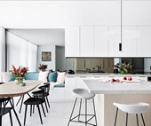 A modern, beach house kitchen designed for entertaining