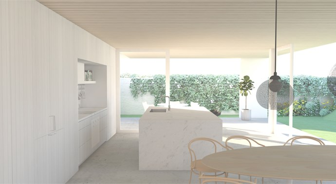 "**MARCH 15, 2018: KITCHEN PREVIEW** <br><br> Inside House & Garden's special 70th anniversary edition – on sale now – you'll spot a sneak preview of how the kitchen in My Ideal House will look on completion. The renders by Madeleine Blanchfield Architects show it fitted with the latest and best [Smeg](http://www.smeg.com.au/|target=""_blank""