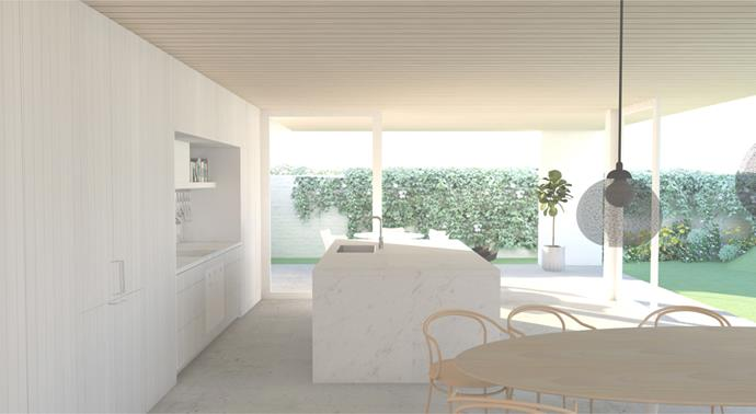 """**MARCH 15, 2018: KITCHEN PREVIEW** <br><br> Inside House & Garden's special 70th anniversary edition – on sale now – you'll spot a sneak preview of how the kitchen in My Ideal House will look on completion. The renders by Madeleine Blanchfield Architects show it fitted with the latest and best [Smeg](http://www.smeg.com.au/