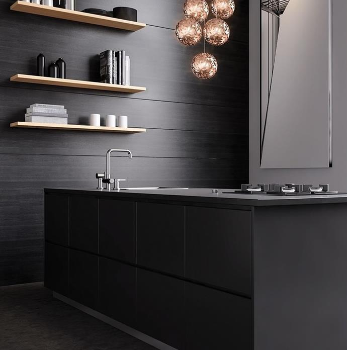 """**Matte surfaces:** Matte Black is really popular for benchtops and cabinetry thanks to its ability to create a sense of luxury and flexibility to compliment any kitchen theme. For the ultimate matte finish, try [Laminex® AbsoluteMatte®](http://www.laminex.com.au/news.php?action=view&article_id=127 target=""""_blank"""" rel=""""nofollow"""")  range; soft to touch with fingerprint-resistant technology, it features antibacterial properties so your ultra-matte kitchen will always look and feel clean. Photography: Supplied"""