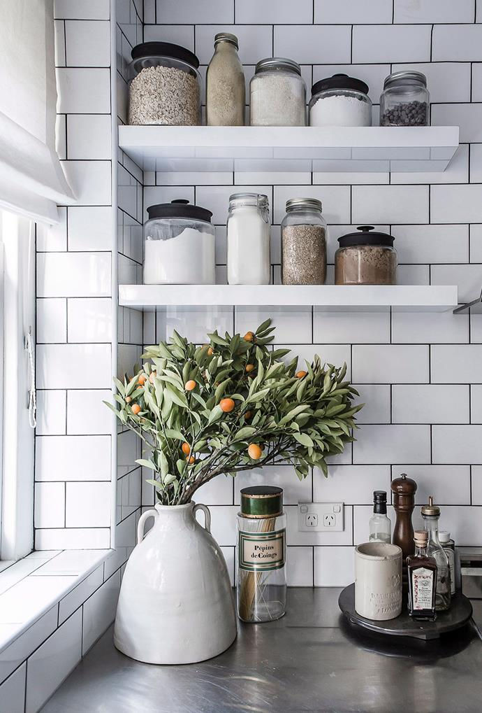**Open shelving:** Simple but effective, open shelving allows you to add a touch of your own personality or store extra ingredients. It's also comes with a level of accountability – with nowhere to hide mess, keeping the space tidy is a must! *Photography: Maree Homer / Bauer Syndication*