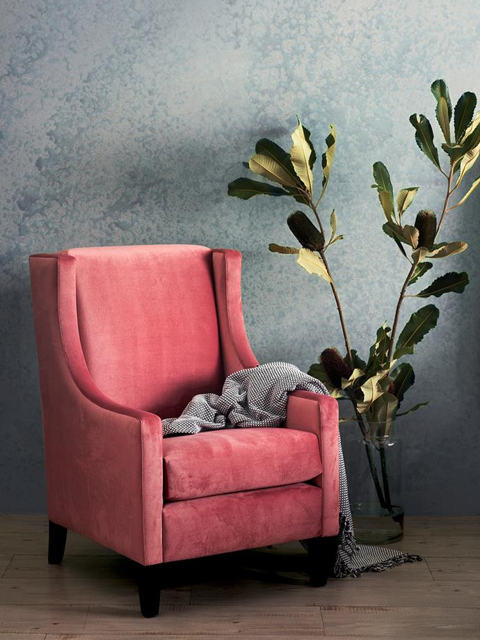 "**Statement seat:** ""Make a statement by adding a bold accent piece in a striking shade, like this chair with custom velvet upholstery for a touch of luxury,"" says Elton. <br><br>*Pictured: Australian-Made Revenge Bedroom Chair upholstered in Warwick Mystere Blush Velvet.* <br><br>*Brought to you by [Harvey Norman](https://www.harveynorman.com.au/?utm_source=Homes%20To%20Love&utm_medium=Article&utm_campaign=HN%20Australian%20Made