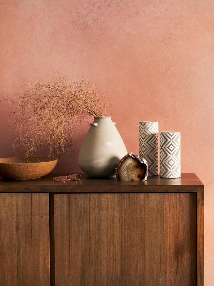 "**Desert rose:**""Draw inspiration from the warmth of the desert at dusk with a soft earthy palette, layered with contemporary shapes, bespoke wood stains and a touch of metallic luxe for contrast,"" says [*Real Living*](https://www.homestolove.com.au/real-living/