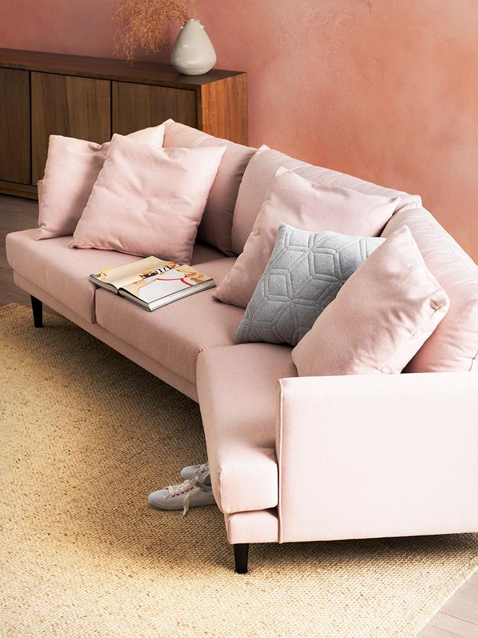 "**Aus geo:** ""An unexpected element like geometric cushions or a modern lounge shape balances out the earthy feel while also keeping the look fresh,"" says Dao. <br><br>*Pictured: [Australian-Made Broadway 2 piece fabric Sofa in Bodhi Petal](https://www.harveynorman.com.au/broadway-2-seater-modular-sofa.html?utm_source=Homes%20To%20Love&utm_medium=Article&utm_campaign=HN%20Australian%20Made