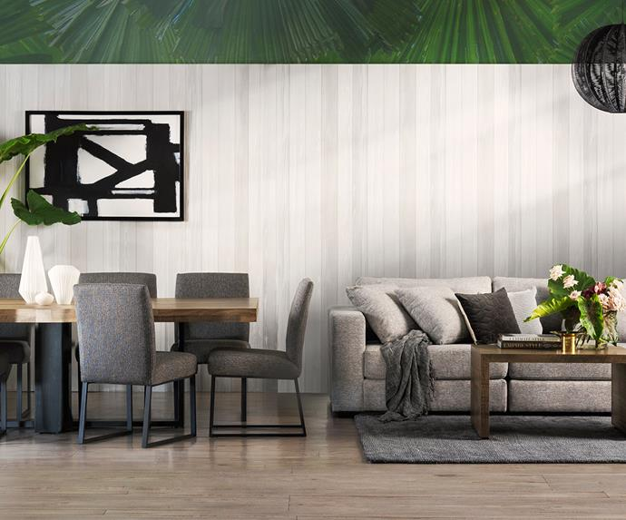 "**Tropical luxe:** ""Graphic prints and pops of lush foliage elevate a bold monochromatic palette of black and white,"" says [*Belle*](https://www.homestolove.com.au/belle/