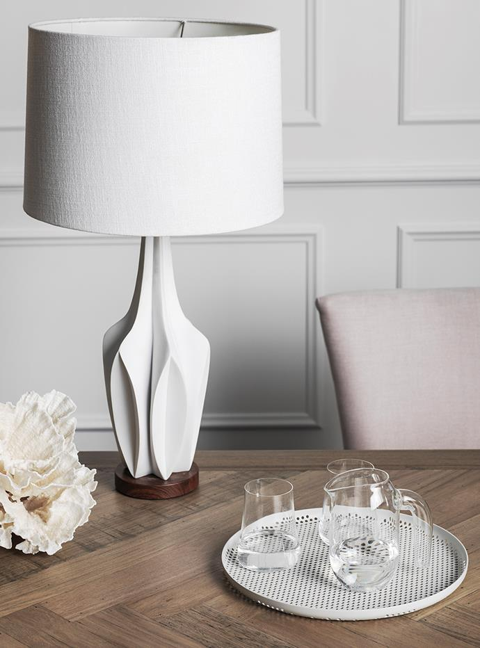 "**White out:** ""The key to using white is in layering the textures — mixing the sculptural with the organic and even a bit of industrial to keep the look fresh,"" says Gex. <br><br>*Pictured: [Cali Table Lamp - White](https://www.harveynorman.com.au/cali-lamp-table.html?utm_source=Homes%20To%20Love&utm_medium=Article&utm_campaign=HN%20Australian%20Made