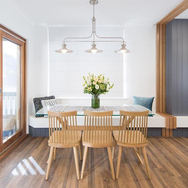 """How to maximise space in your dining room? Alisa and Lysandra chose an in-built dining table to make the area appear larger. *Image: [@alisa_lysandra](https://www.instagram.com/alisa_lysandra/ target=""""_blank"""" rel=""""nofollow"""")*"""