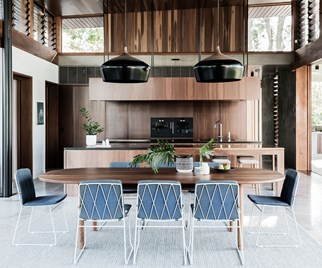 open plan kitchen living timber