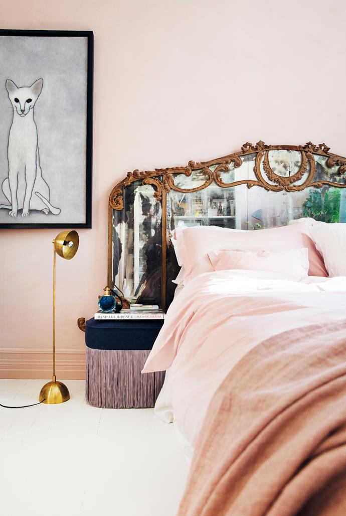 Layer bed linens in different shades of the same tone of pink for visual variation. Also, play with texture: smooth cotton, rough linen, plush velvet...