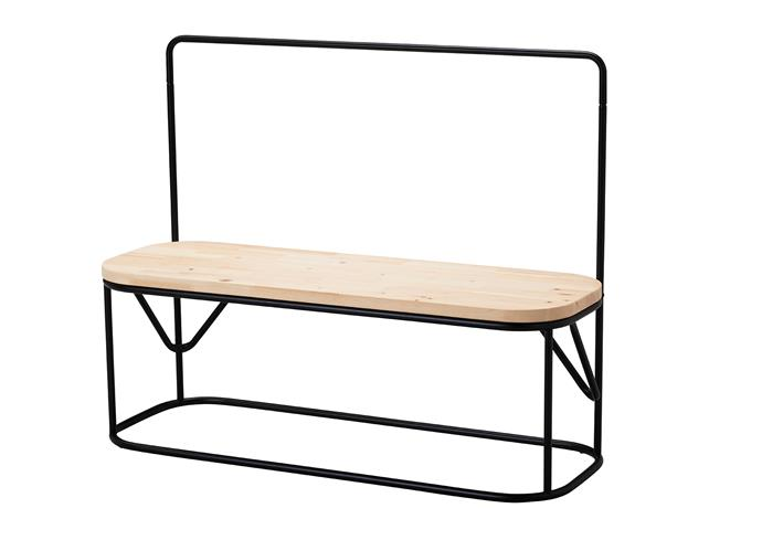 Bench with clothes rack, $89.