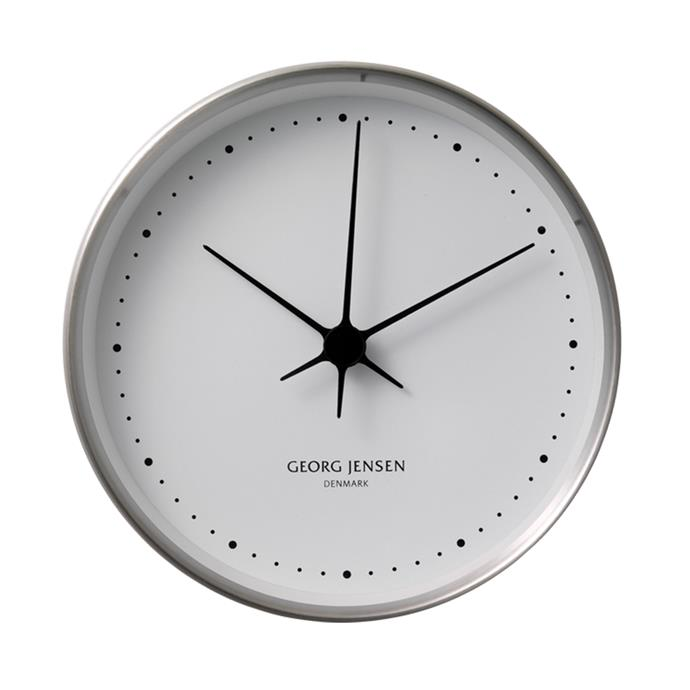 "Wall Clock, $160, from [Georg Jensen](https://www.georgjensen.com/en-au/home-decor/koppel-10-cm-wall-clock-stainless-steel-with-white-dial/3587584.html?cgid=4|target=""_blank"")."