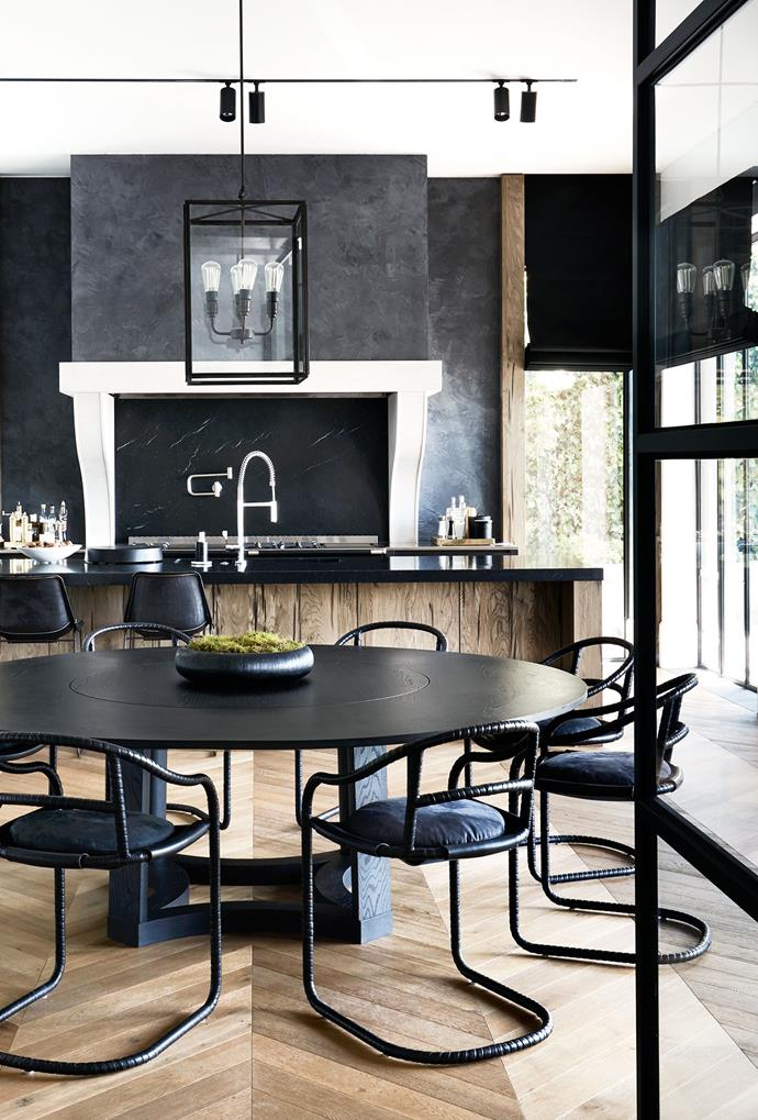 Table by Dylan Farrell Design. Chairs by Ochre. Stonework on rangehood by Euro Marble.