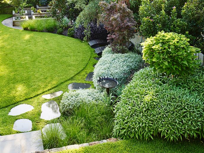 The garden transitions from geometric shapes at the top to curvilinear forms on the bottom level. Multiple zones are unified by a planting palette that mixes silver-green foliage, such as that of Helichrysum petiolare (licorice plant) and Echium, with splashes of purple in the form of Alternanthera dentata and a 'Bloodwood' Japanese maple.