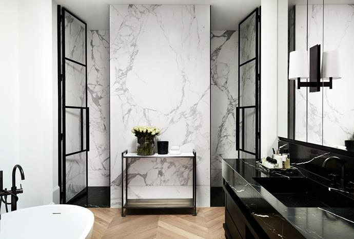 Statuario and Nero Marquina marbles from Euro Marble in the ensuite. Astra Walker tapware.