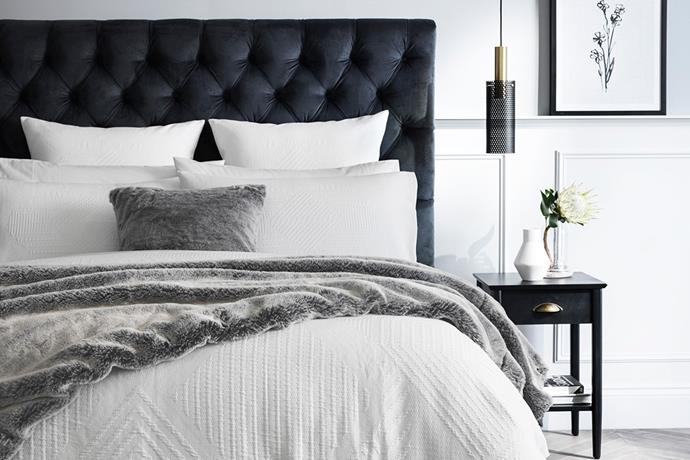 """**Hartleigh Diamond Buttoned Bed Head by Sheridan** Get that luxe 'hotel look' with this diamond-buttoned beauty, available in three classic colours. From $1,444.15 - $1,699.15, [Sheridan](https://www.sheridan.com.au/hartleigh-diamond-buttoned-bed-head-s1tn-b151-c414-702-navy.html
