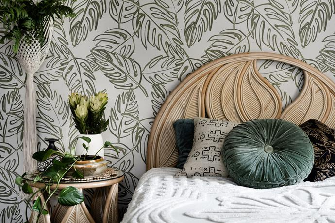 """**Palm Springs by Family Love Tree** Go boho with this cleverly-crafted cane bed head. The bed head lays effortlessly against the wall with the bed pushed up against it so there's no need to attach. From $429, [Family Love Tree](https://thefamilylovetree.com.au/product/king-single-palm-springs-bed-head-natural/