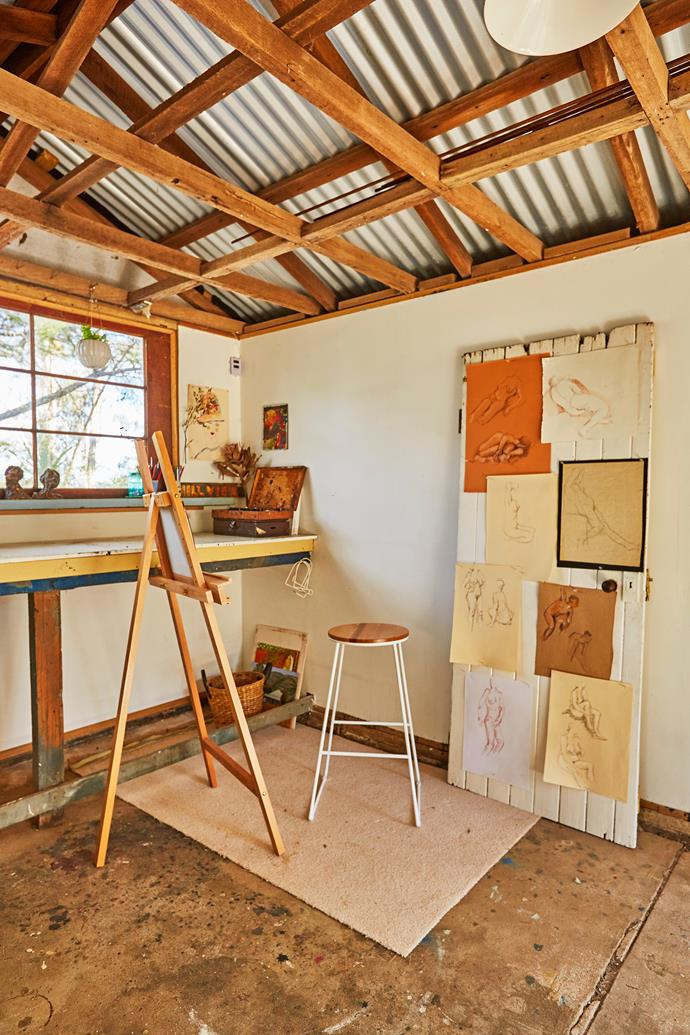 The artist's studio is thoughtfully set up for those who wish to create art, with all the tools of the trade at hand and original artworks up on the wall for inspiration.