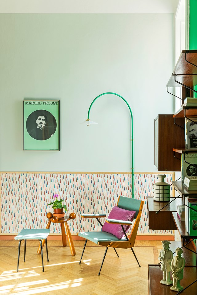 """Bright colours and playful wallpaper bring life and personality to this [quirky inner-city apartment](https://www.homestolove.com.au/a-colourful-city-apartment-6463