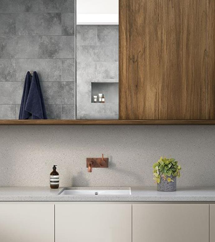 """Matte surfaces can also add warmth to bathrooms when applied to benchtop surfaces. [Laminex AbsoluteMatte](http://www.laminex.com.au/news.php?action=view&article_id=124 target=""""_blank"""" rel=""""nofollow"""") is available in a variety of hues from whites and mid greys to statement black. Embedded with advanced anti-fingerprint technology that includes antibacterial protection, your bathroom will remain cleaner for longer. *Photography: supplied*"""