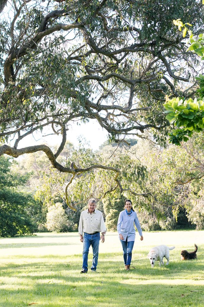 The Baillieus on their daily walk up to the main house.