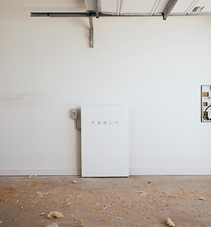 """**APRIL 4, 2018: BATTERY BRILLIANCE** <br><br> Sitting neatly and discreetly in the garage at My Ideal House is the Tesla Powerwall 2 solar storage battery from [Bradford Energy](http://www.bradfordsolar.com.au/