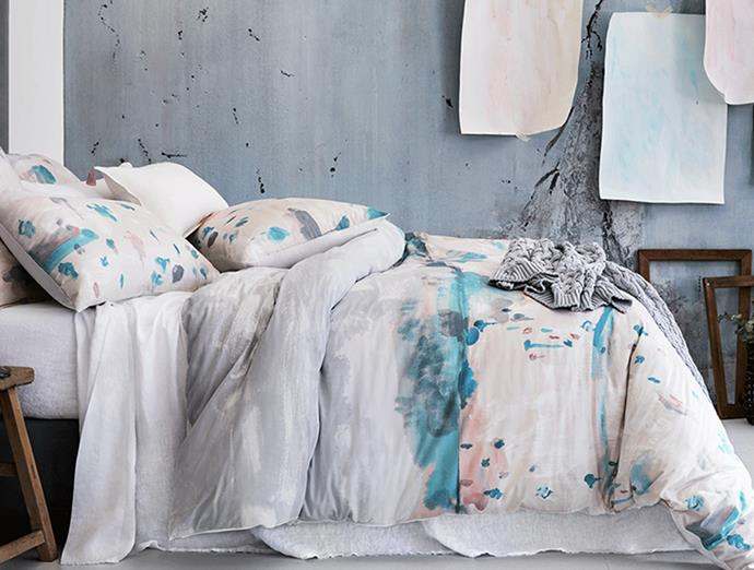 """""""The colour palette for our Long Plains bed was inspired by the time of day we visited the Flinders Ranges. At dusk, the colours were greyed off by the coming of nightfall and the bright coral earth softened in the evening light,"""" says Bec.  **SHOP NOW:** [Long Plains Quilt Cover](https://www.sheridan.com.au/long-plains-quilt-cover-s0bu-b110-c194-520-multi.html
